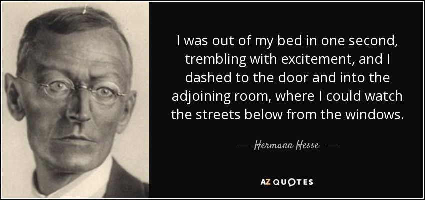 I was out of my bed in one second, trembling with excitement, and I dashed to the door and into the adjoining room, where I could watch the streets below from the windows. - Hermann Hesse