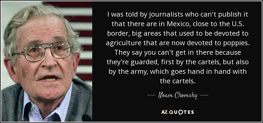 I was told by journalists who can't publish it that there are in Mexico, close to the U.S. border, big areas that used to be devoted to agriculture that are now devoted to poppies. They say you can't get in there because they're guarded, first by the cartels, but also by the army, which goes hand in hand with the cartels. - Noam Chomsky