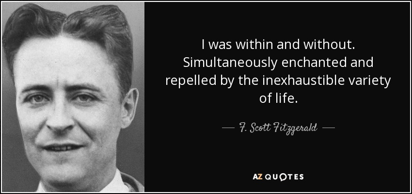 I was within and without. Simultaneously enchanted and repelled by the inexhaustible variety of life. - F. Scott Fitzgerald