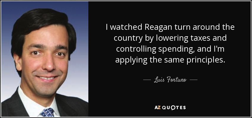 I watched Reagan turn around the country by lowering taxes and controlling spending, and I'm applying the same principles. - Luis Fortuno