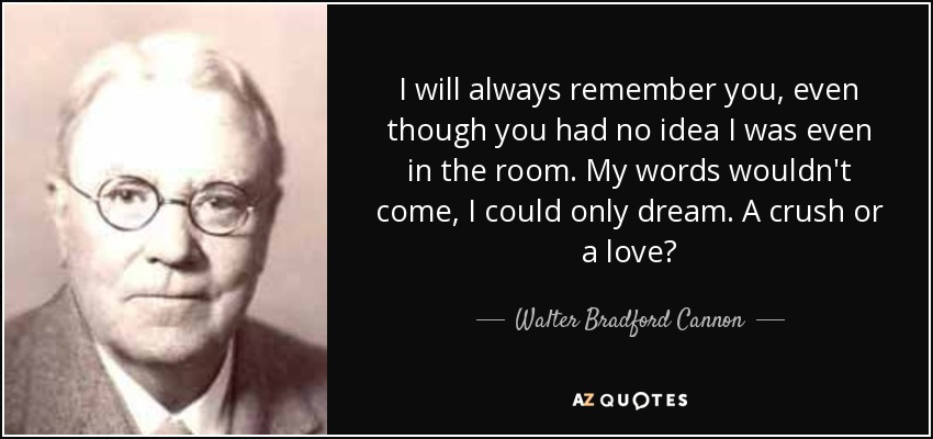 I will always remember you, even though you had no idea I was even in the room. My words wouldn't come, I could only dream. A crush or a love? - Walter Bradford Cannon