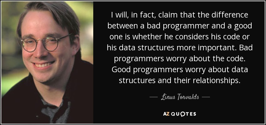 I will, in fact, claim that the difference between a bad programmer and a good one is whether he considers his code or his data structures more important. Bad programmers worry about the code. Good programmers worry about data structures and their relationships. - Linus Torvalds