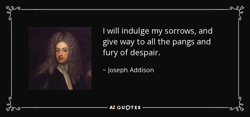I will indulge my sorrows, and give way to all the pangs and fury of despair. - Joseph Addison