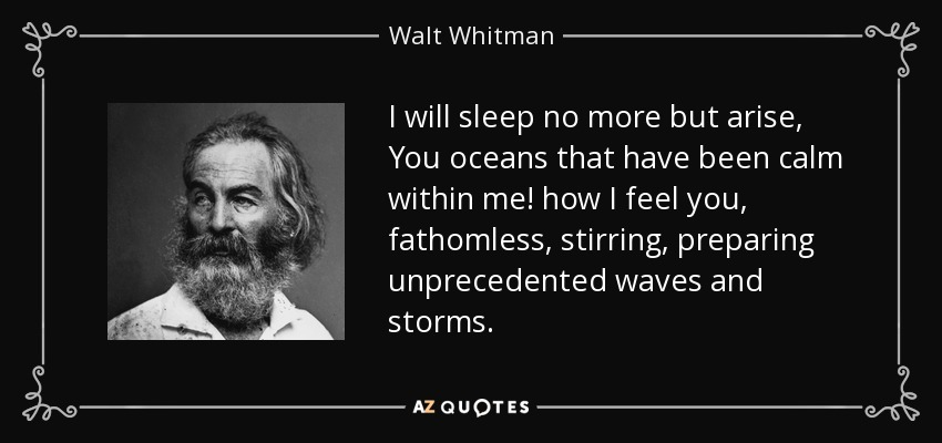 I will sleep no more but arise, You oceans that have been calm within me! how I feel you, fathomless, stirring, preparing unprecedented waves and storms. - Walt Whitman
