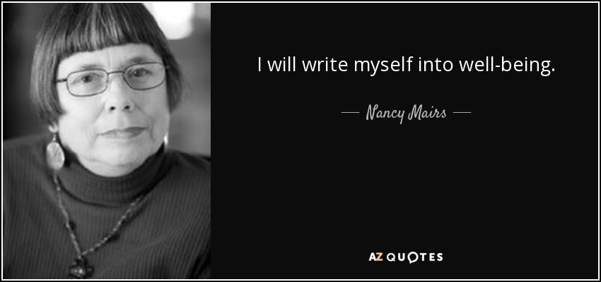am cripple nancy mairs essay Nancy mairs on being a cripple essay analysis on du i am so over writing these papers if i never have to write another persuasive essay, it'll only be too soon.