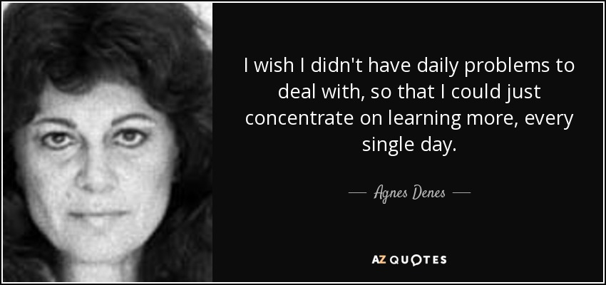 I wish I didn't have daily problems to deal with, so that I could just concentrate on learning more, every single day. - Agnes Denes