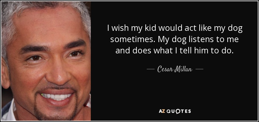 I wish my kid would act like my dog sometimes. My dog listens to me and does what I tell him to do. - Cesar Millan