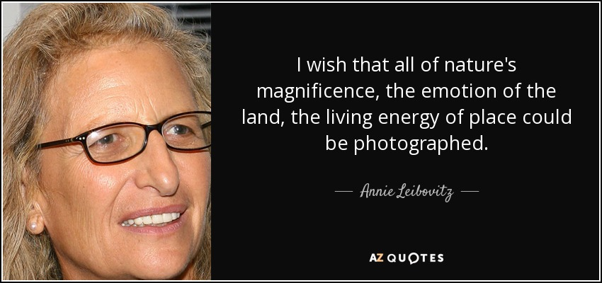 I wish that all of nature's magnificence, the emotion of the land, the living energy of place could be photographed. - Annie Leibovitz