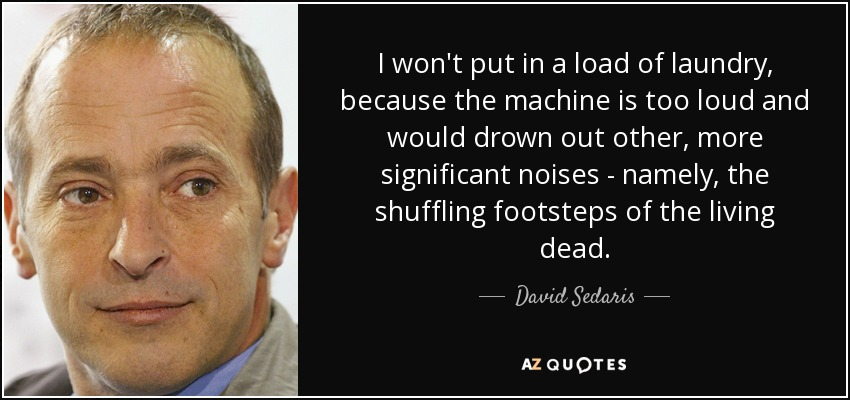 I won't put in a load of laundry, because the machine is too loud and would drown out other, more significant noises - namely, the shuffling footsteps of the living dead. - David Sedaris
