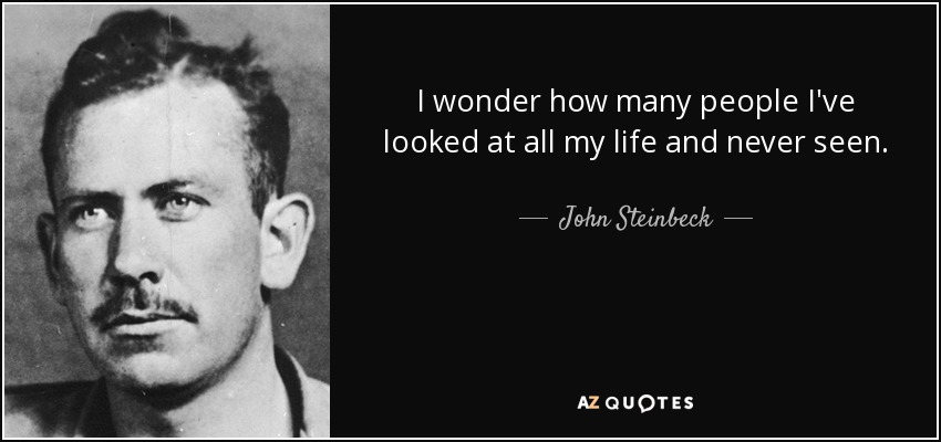 I wonder how many people I've looked at all my life and never seen. - John Steinbeck