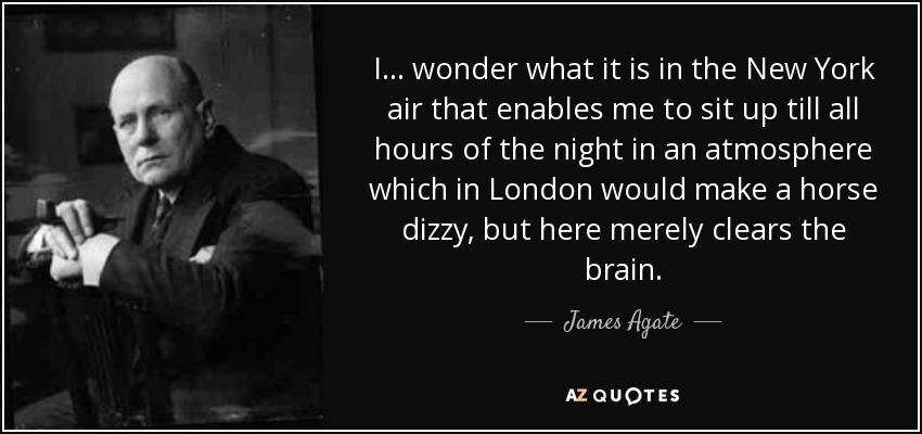 I... wonder what it is in the New York air that enables me to sit up till all hours of the night in an atmosphere which in London would make a horse dizzy, but here merely clears the brain. - James Agate