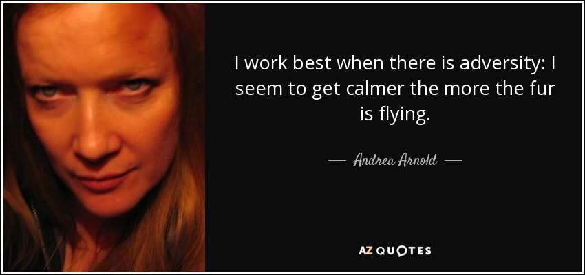 I work best when there is adversity: I seem to get calmer the more the fur is flying. - Andrea Arnold