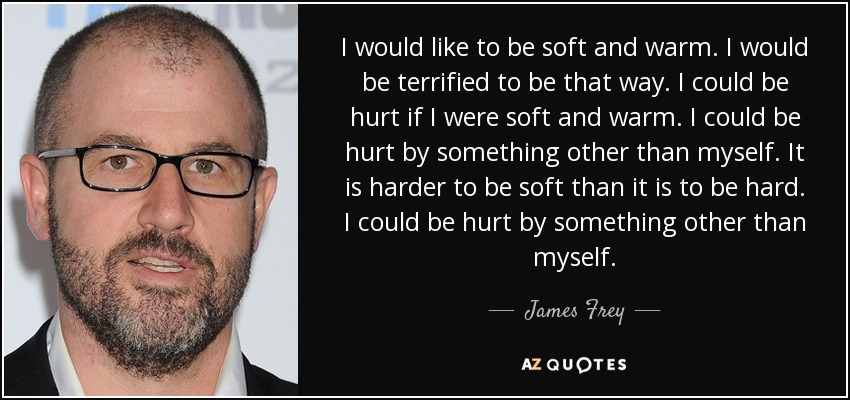 I would like to be soft and warm. I would be terrified to be that way. I could be hurt if I were soft and warm. I could be hurt by something other than myself. It is harder to be soft than it is to be hard. I could be hurt by something other than myself. - James Frey