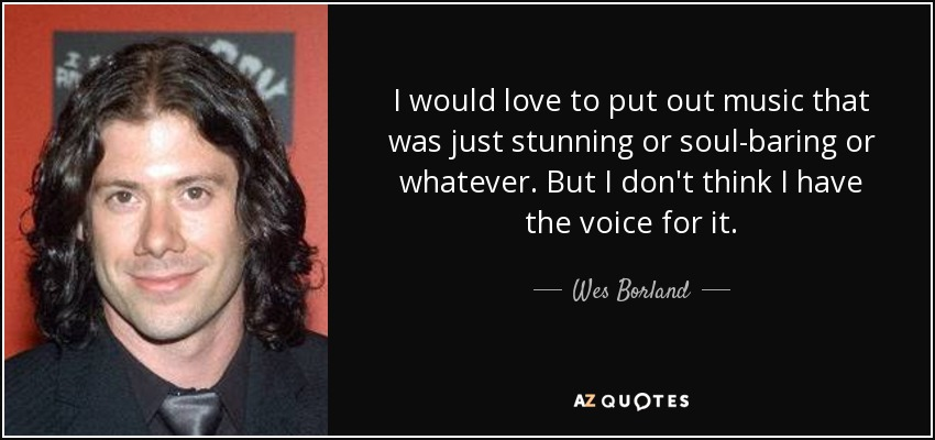 I would love to put out music that was just stunning or soul-baring or whatever. But I don't think I have the voice for it. - Wes Borland