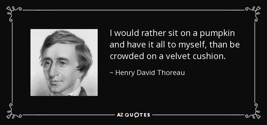 I would rather sit on a pumpkin and have it all to myself, than be crowded on a velvet cushion. - Henry David Thoreau