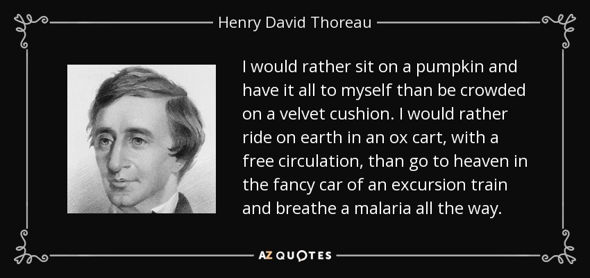 I would rather sit on a pumpkin and have it all to myself than be crowded on a velvet cushion. I would rather ride on earth in an ox cart, with a free circulation, than go to heaven in the fancy car of an excursion train and breathe a malaria all the way. - Henry David Thoreau