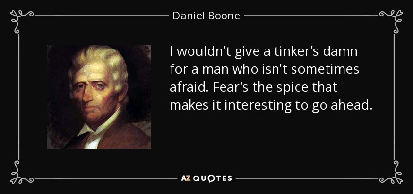 I wouldn't give a tinker's damn for a man who isn't sometimes afraid. Fear's the spice that makes it interesting to go ahead. - Daniel Boone