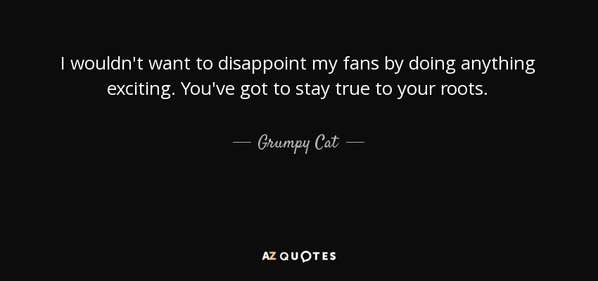 Grumpy Cat Quote I Wouldnt Want To Disappoint My Fans By Doing