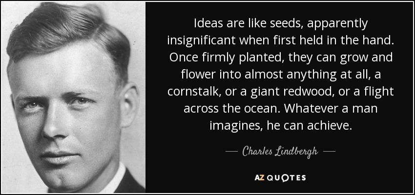 Ideas are like seeds, apparently insignificant when first held in the hand. Once firmly planted, they can grow and flower into almost anything at all, a cornstalk, or a giant redwood, or a flight across the ocean. Whatever a man imagines, he can achieve. - Charles Lindbergh