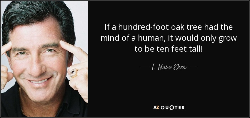 If a hundred-foot oak tree had the mind of a human, it would only grow to be ten feet tall! - T. Harv Eker