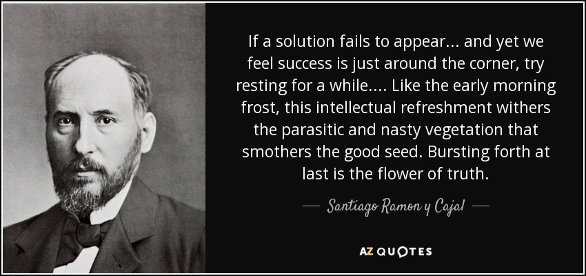 If a solution fails to appear ... and yet we feel success is just around the corner, try resting for a while. ... Like the early morning frost, this intellectual refreshment withers the parasitic and nasty vegetation that smothers the good seed. Bursting forth at last is the flower of truth. - Santiago Ramon y Cajal