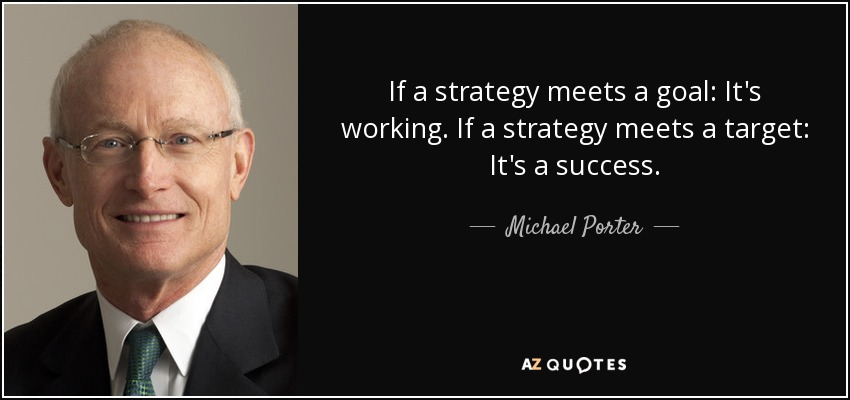 If a strategy meets a goal: It's working. If a strategy meets a target: It's a success. - Michael Porter