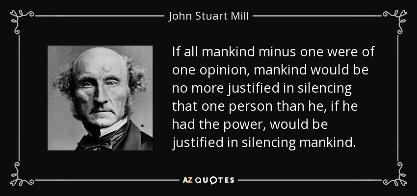 an analysis of the speech on liberty by john stuart mill This paper examines john stuart mill's essay on liberty and its implications for   warner's insightful analysis, over a decade ago, of mill's considerations on.