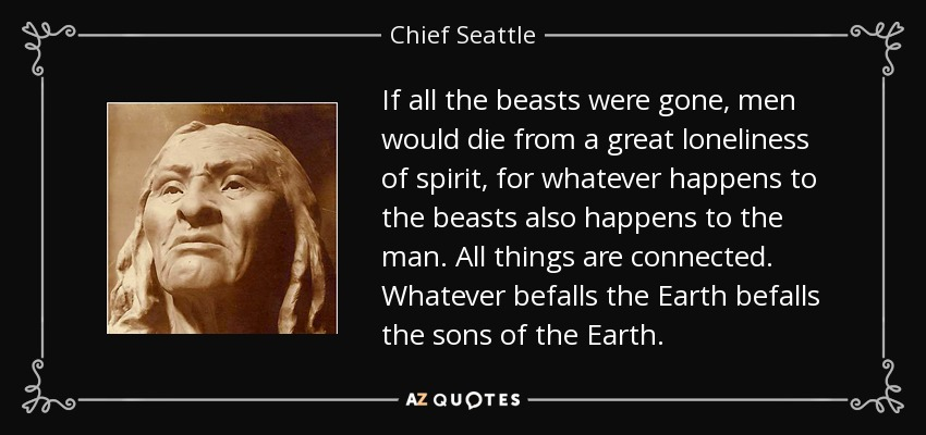 If all the beasts were gone, men would die from a great loneliness of spirit, for whatever happens to the beasts also happens to the man. All things are connected. Whatever befalls the Earth befalls the sons of the Earth. - Chief Seattle