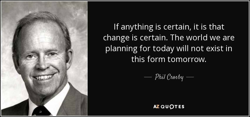 Phil Crosby Quote If Anything Is Certain It Is That Change Is