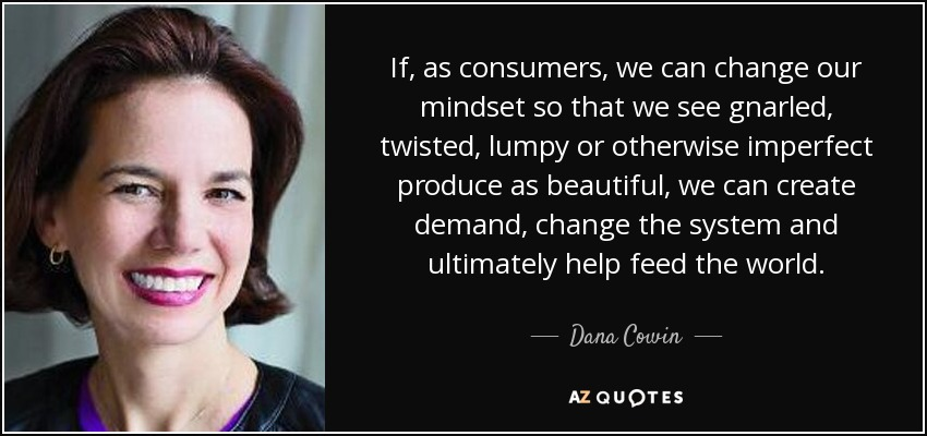 If, as consumers, we can change our mindset so that we see gnarled, twisted, lumpy or otherwise imperfect produce as beautiful, we can create demand, change the system and ultimately help feed the world. - Dana Cowin
