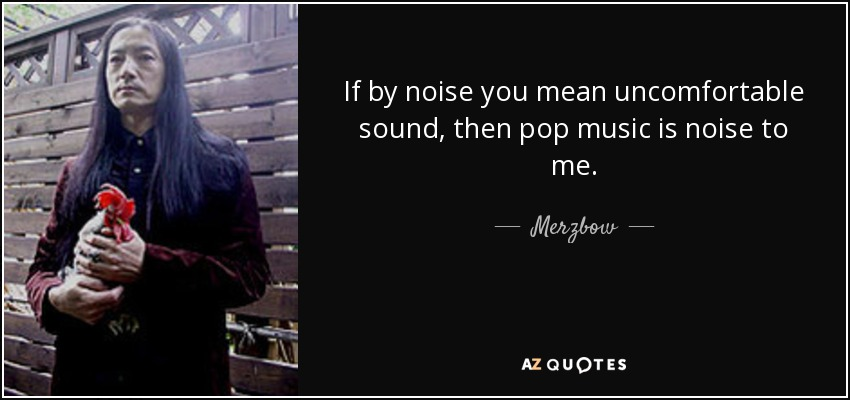 If by noise you mean uncomfortable sound, then pop music is noise to me. - Merzbow