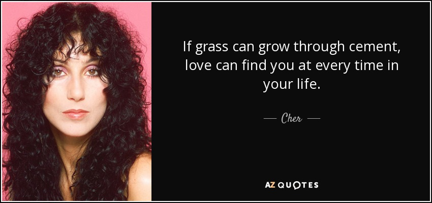 If grass can grow through cement, love can find you at every time in your life. - Cher