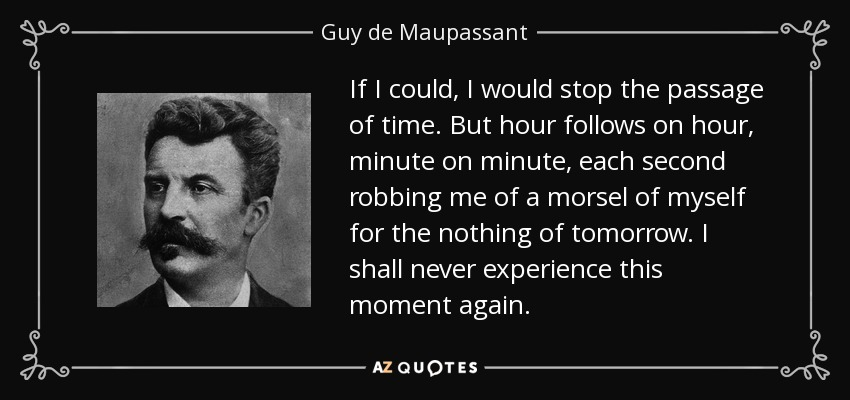 If I could, I would stop the passage of time. But hour follows on hour, minute on minute, each second robbing me of a morsel of myself for the nothing of tomorrow. I shall never experience this moment again. - Guy de Maupassant