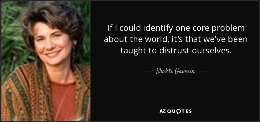 If I could identify one core problem about the world, it's that we've been taught to distrust ourselves. - Shakti Gawain