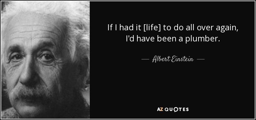 If I had it [life] to do all over again, I'd have been a plumber. - Albert Einstein