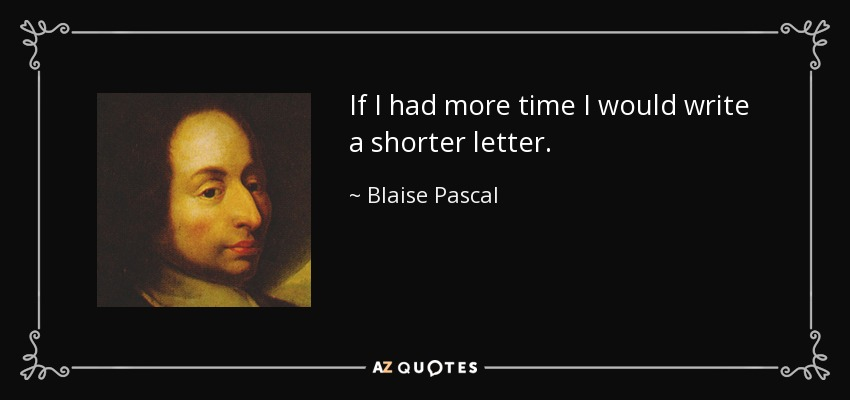 "Image of Balise Pascal and text ""If I had more time I would write a shorter letter."""