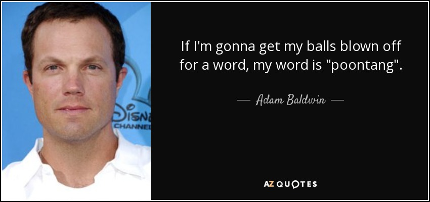 Adam Baldwin Quote If Im Gonna Get My Balls Blown Off For A