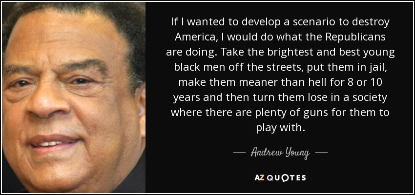 If I wanted to develop a scenario to destroy America, I would do what the Republicans are doing. Take the brightest and best young black men off the streets, put them in jail, make them meaner than hell for 8 or 10 years and then turn them lose in a society where there are plenty of guns for them to play with. - Andrew Young