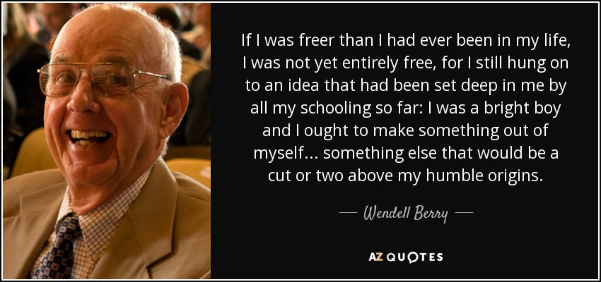 If I was freer than I had ever been in my life, I was not yet entirely free, for I still hung on to an idea that had been set deep in me by all my schooling so far: I was a bright boy and I ought to make something out of myself... something else that would be a cut or two above my humble origins. - Wendell Berry