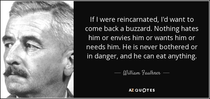 If I were reincarnated, I'd want to come back a buzzard. Nothing hates him or envies him or wants him or needs him. He is never bothered or in danger, and he can eat anything. - William Faulkner