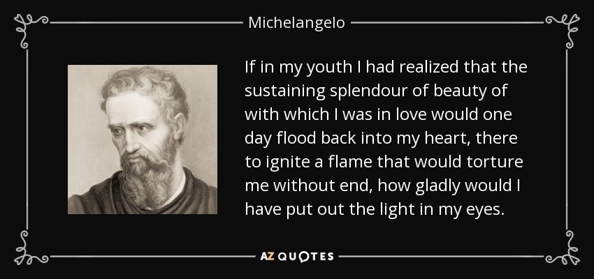 If in my youth I had realized that the sustaining splendour of beauty of with which I was in love would one day flood back into my heart, there to ignite a flame that would torture me without end, how gladly would I have put out the light in my eyes. - Michelangelo