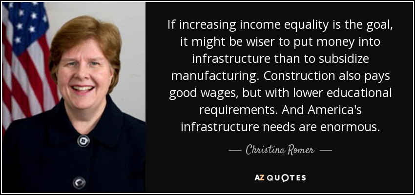 If increasing income equality is the goal, it might be wiser to put money into infrastructure than to subsidize manufacturing. Construction also pays good wages, but with lower educational requirements. And America's infrastructure needs are enormous. - Christina Romer