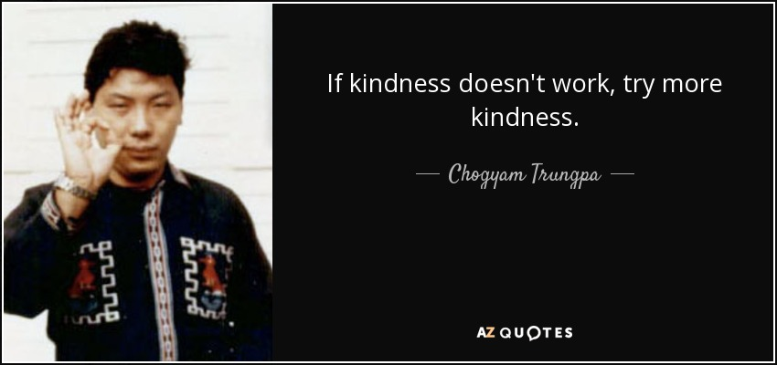 If kindness doesn't work, try more kindness. - Chogyam Trungpa