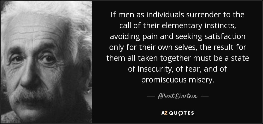 If men as individuals surrender to the call of their elementary instincts, avoiding pain and seeking satisfaction only for their own selves, the result for them all taken together must be a state of insecurity, of fear, and of promiscuous misery. - Albert Einstein
