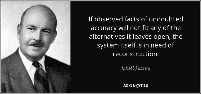 If observed facts of undoubted accuracy will not fit any of the alternatives it leaves open, the system itself is in need of reconstruction. - Talcott Parsons