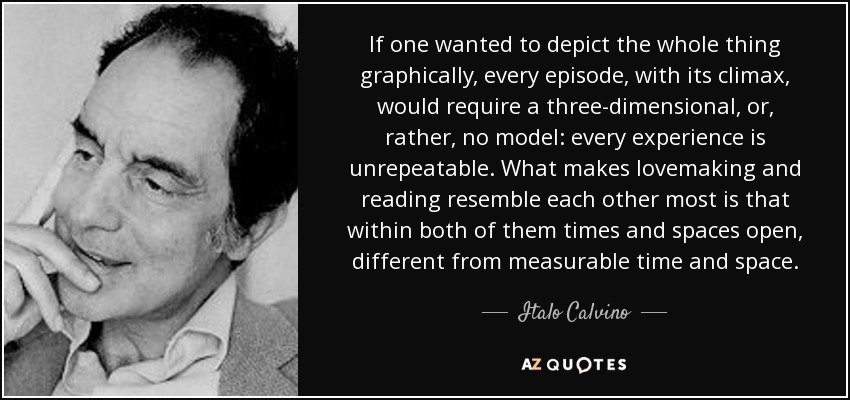 If one wanted to depict the whole thing graphically, every episode, with its climax, would require a three-dimensional, or, rather, no model: every experience is unrepeatable. What makes lovemaking and reading resemble each other most is that within both of them times and spaces open, different from measurable time and space. - Italo Calvino