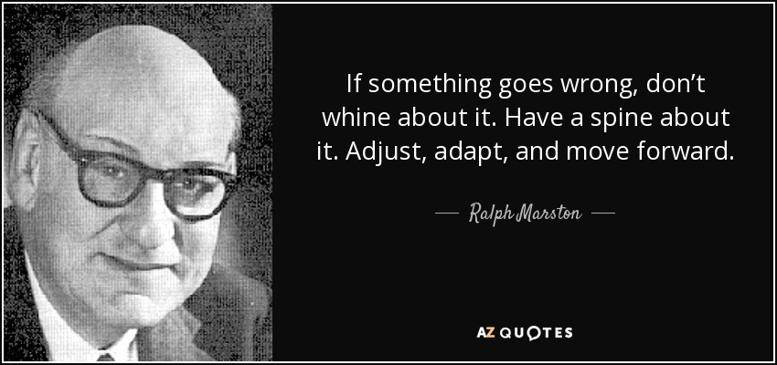 If something goes wrong, don't whine about it. Have a spine about it. Adjust, adapt, and move forward. - Ralph Marston
