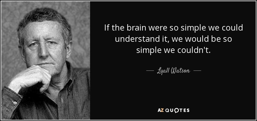 If the brain were so simple we could understand it, we would be so simple we couldn't. - Lyall Watson