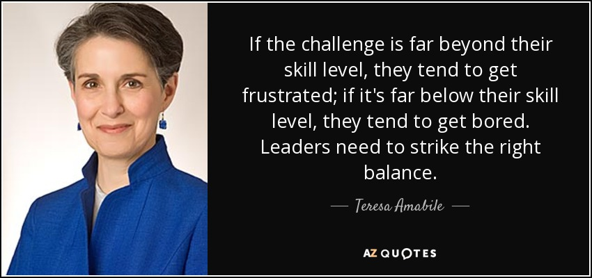 If the challenge is far beyond their skill level, they tend to get frustrated; if it's far below their skill level, they tend to get bored. Leaders need to strike the right balance. - Teresa Amabile