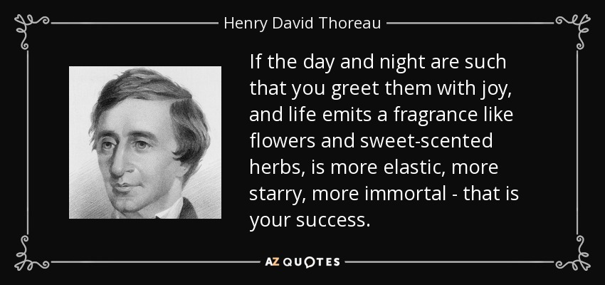 If the day and night are such that you greet them with joy, and life emits a fragrance like flowers and sweet-scented herbs, is more elastic, more starry, more immortal - that is your success. - Henry David Thoreau